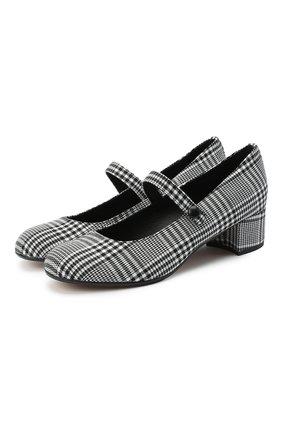 Детские туфли MISSOURI черно-белого цвета, арт. 78056M/31-34 | Фото 1 (Материал внешний: Текстиль; Материал внутренний: Натуральная кожа)