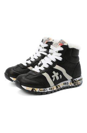 Детские высокие кожаные кроссовки PREMIATA WILL BE черного цвета, арт. ADAM-M/M0080326/CHILD | Фото 1 (Материал утеплителя: Натуральный мех; Стили: Гранж)