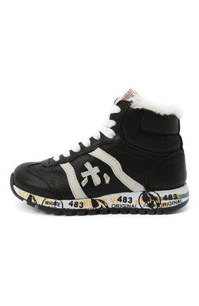 Детские высокие кожаные кроссовки PREMIATA WILL BE черного цвета, арт. ADAM-M/M0080326/CHILD | Фото 2 (Материал утеплителя: Натуральный мех; Стили: Гранж)