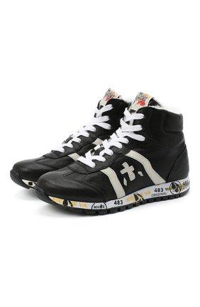 Детские высокие кожаные кроссовки PREMIATA WILL BE черного цвета, арт. ADAM-M/M0080326/JUN | Фото 1 (Материал утеплителя: Натуральный мех; Стили: Гранж)