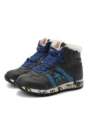Детские высокие кроссовки PREMIATA WILL BE серого цвета, арт. ADAM-M/M0081312/CHILD   Фото 1