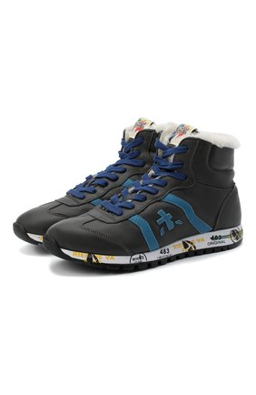 Детские высокие кроссовки PREMIATA WILL BE серого цвета, арт. ADAM-M/M0081312/JUN/39 | Фото 1 (Материал утеплителя: Натуральный мех; Стили: Гранж)