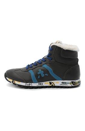 Детские высокие кроссовки PREMIATA WILL BE серого цвета, арт. ADAM-M/M0081312/JUN/39 | Фото 2 (Материал утеплителя: Натуральный мех; Стили: Гранж)