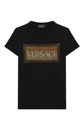 Детская хлопковая футболка VERSACE черного цвета, арт. YC000346/YA00019/8A-14A | Фото 1