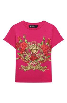 Детская хлопковая футболка VERSACE фуксия цвета, арт. YC000426/YA00079/8A-14A | Фото 1