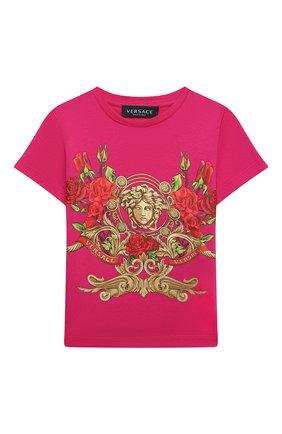 Детская хлопковая футболка VERSACE фуксия цвета, арт. YC000426/YA00079/4A-6A | Фото 1