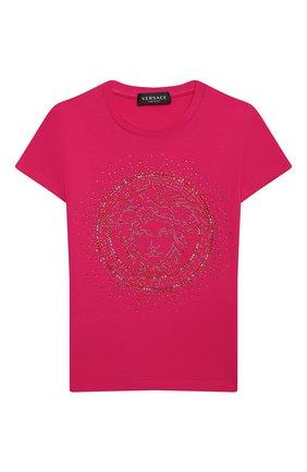 Детская хлопковая футболка VERSACE фуксия цвета, арт. YC000430/YA00019/8A-14A | Фото 1