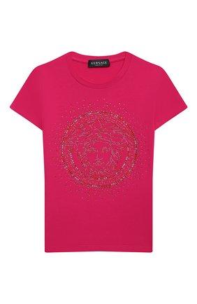 Детская хлопковая футболка VERSACE фуксия цвета, арт. YC000430/YA00019/4A-6A | Фото 1