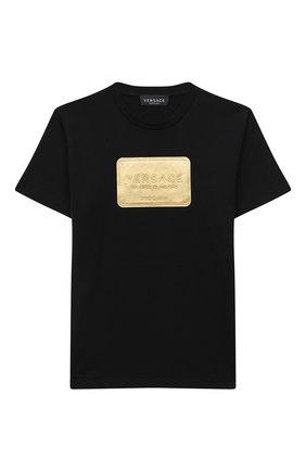 Детская хлопковая футболка VERSACE черного цвета, арт. YD000323/YA00079/8A-14A | Фото 1