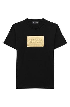 Детская хлопковая футболка VERSACE черного цвета, арт. YD000323/YA00079/4A-6A | Фото 1