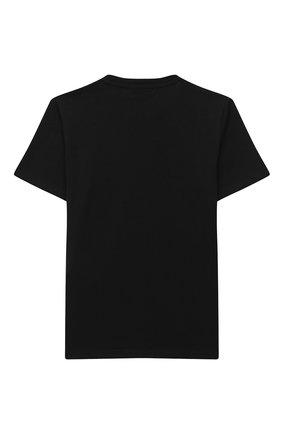 Детская хлопковая футболка VERSACE черного цвета, арт. YD000323/YA00079/4A-6A | Фото 2