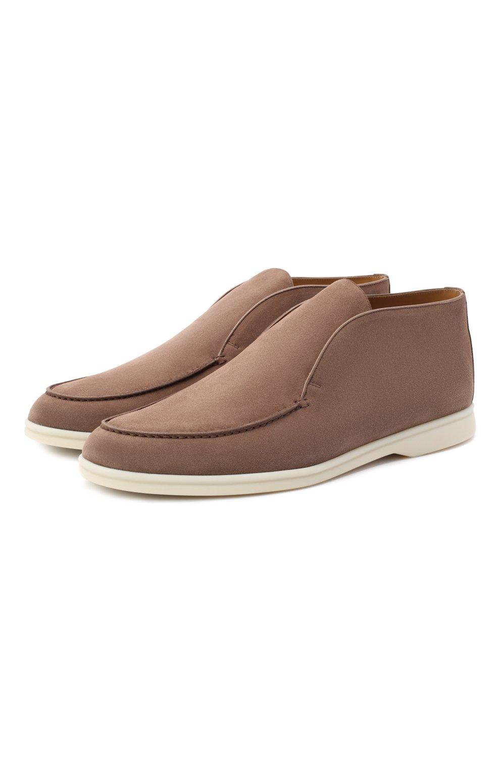 Мужские замшевые ботинки open walk LORO PIANA темно-бежевого цвета, арт. FAB4368   Фото 1