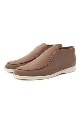 Мужские замшевые ботинки open walk LORO PIANA темно-бежевого цвета, арт. FAB4368 | Фото 1