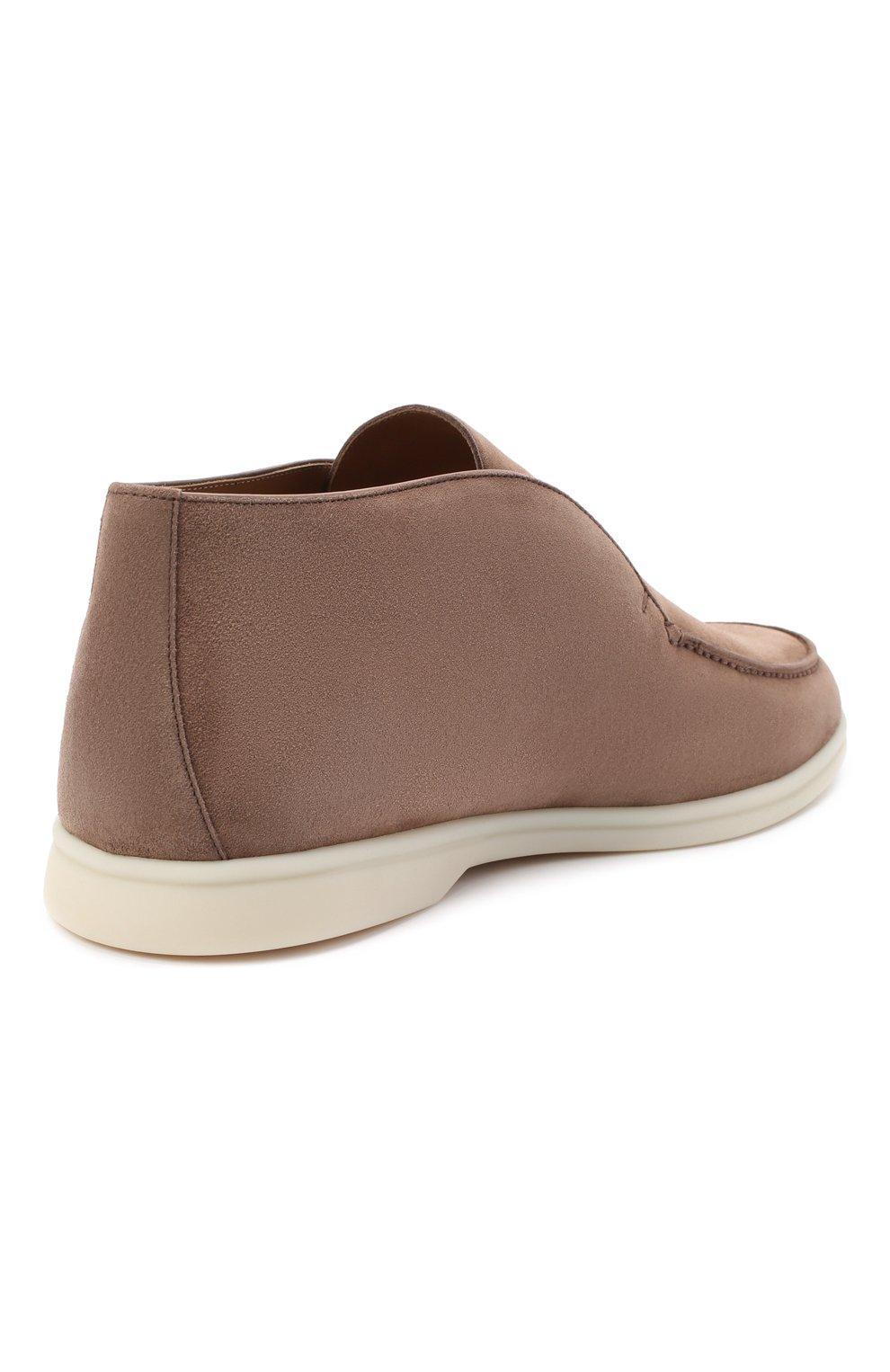 Мужские замшевые ботинки open walk LORO PIANA темно-бежевого цвета, арт. FAB4368   Фото 4
