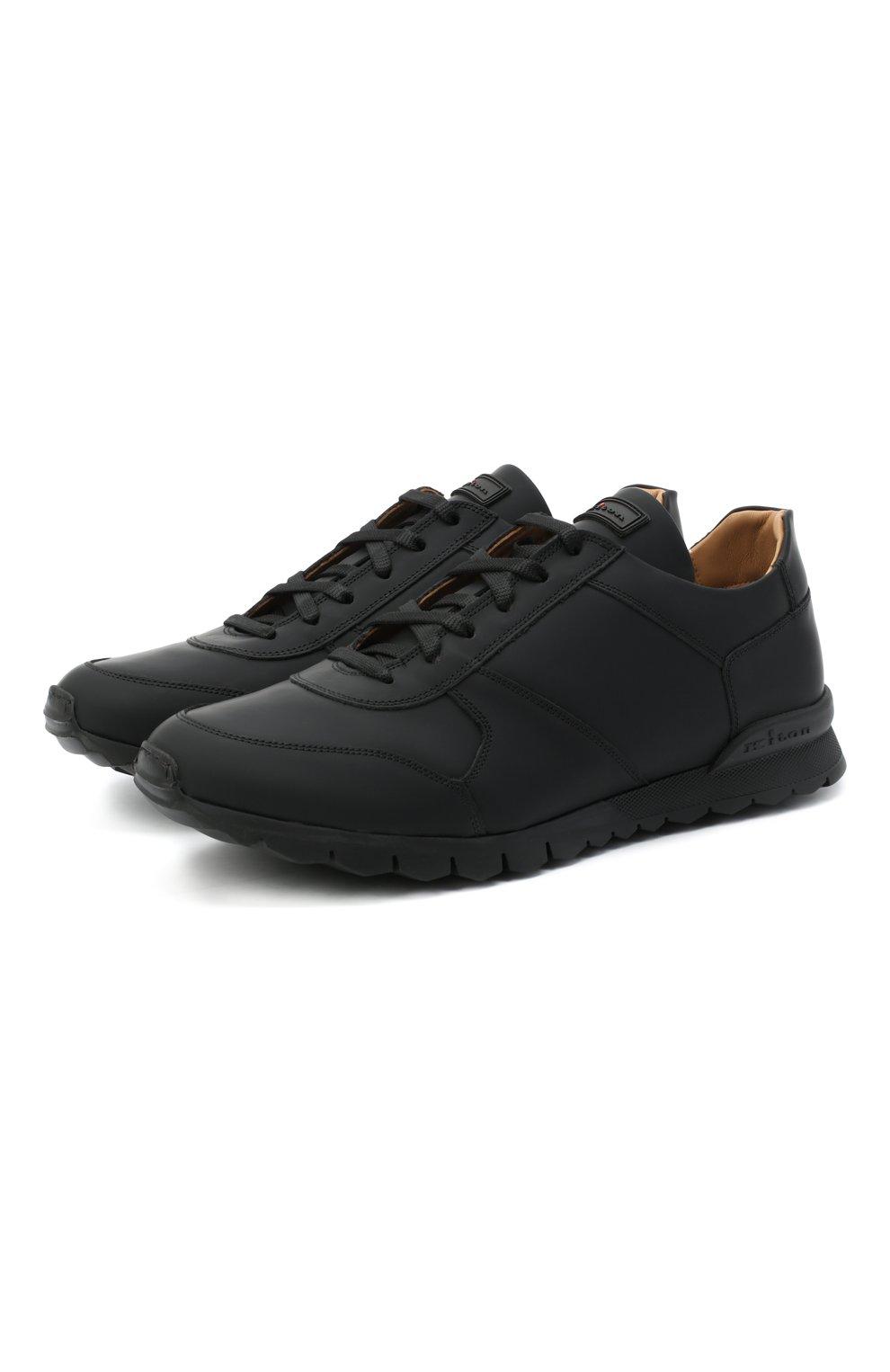 Мужские кожаные кроссовки KITON черного цвета, арт. USSVLAZN00674 | Фото 1