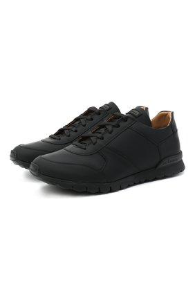 Мужские кожаные кроссовки KITON черного цвета, арт. USSVLAZN00674 | Фото 1 (Подошва: Массивная; Материал утеплителя: Натуральный мех; Материал внутренний: Натуральная кожа; Стили: Классический)