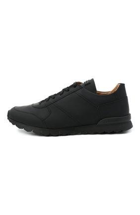 Мужские кожаные кроссовки KITON черного цвета, арт. USSVLAZN00674 | Фото 3
