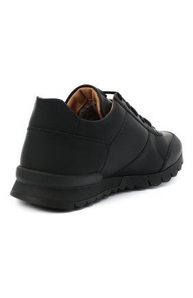 Мужские кожаные кроссовки KITON черного цвета, арт. USSVLAZN00674 | Фото 4