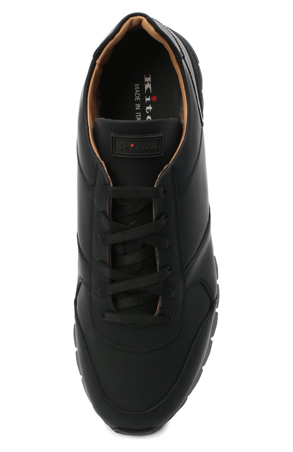 Мужские кожаные кроссовки KITON черного цвета, арт. USSVLAZN00674 | Фото 5