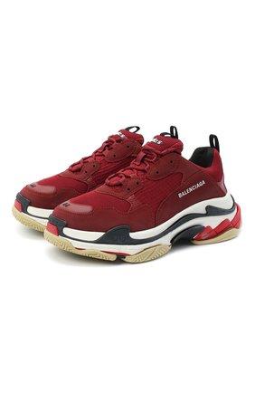 Мужские комбинированные кроссовки triple s BALENCIAGA бордового цвета, арт. 536737/W090M   Фото 1
