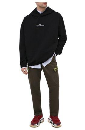 Мужские комбинированные кроссовки triple s BALENCIAGA бордового цвета, арт. 536737/W090M   Фото 2