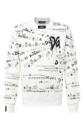 Мужской хлопковый свитшот DOLCE & GABBANA белого цвета, арт. G9TF9T/FI74R | Фото 1
