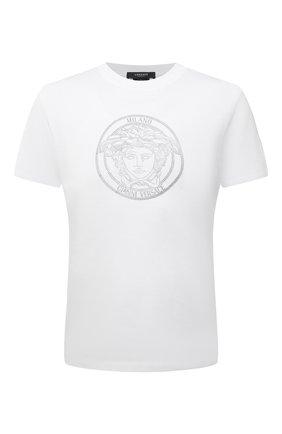 Мужская хлопковая футболка VERSACE белого цвета, арт. A87381/A228806 | Фото 1