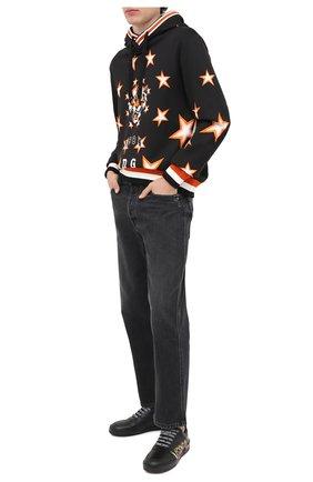 Мужские кожаные кеды ilus VERSACE черного цвета, арт. DSU7843/DV26G   Фото 2