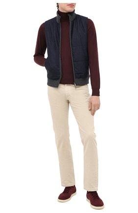 Мужские кожаные кеды soho walk LORO PIANA бордового цвета, арт. FAL2899 | Фото 2