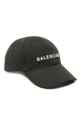 Мужской хлопковая бейсболка BALENCIAGA хаки цвета, арт. 590758/410B2 | Фото 1