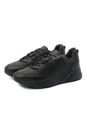 Мужские кожаные кроссовки DOUCAL'S темно-серого цвета, арт. DU2710JUSTPM208NN00 | Фото 1