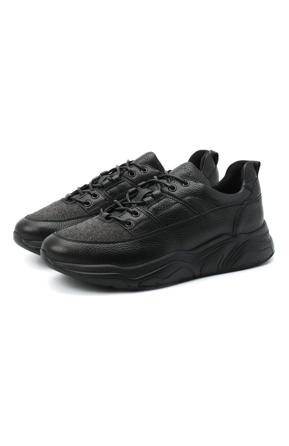 Мужские кожаные кроссовки DOUCAL'S черного цвета, арт. DU2710JUSTPX208NN00 | Фото 1