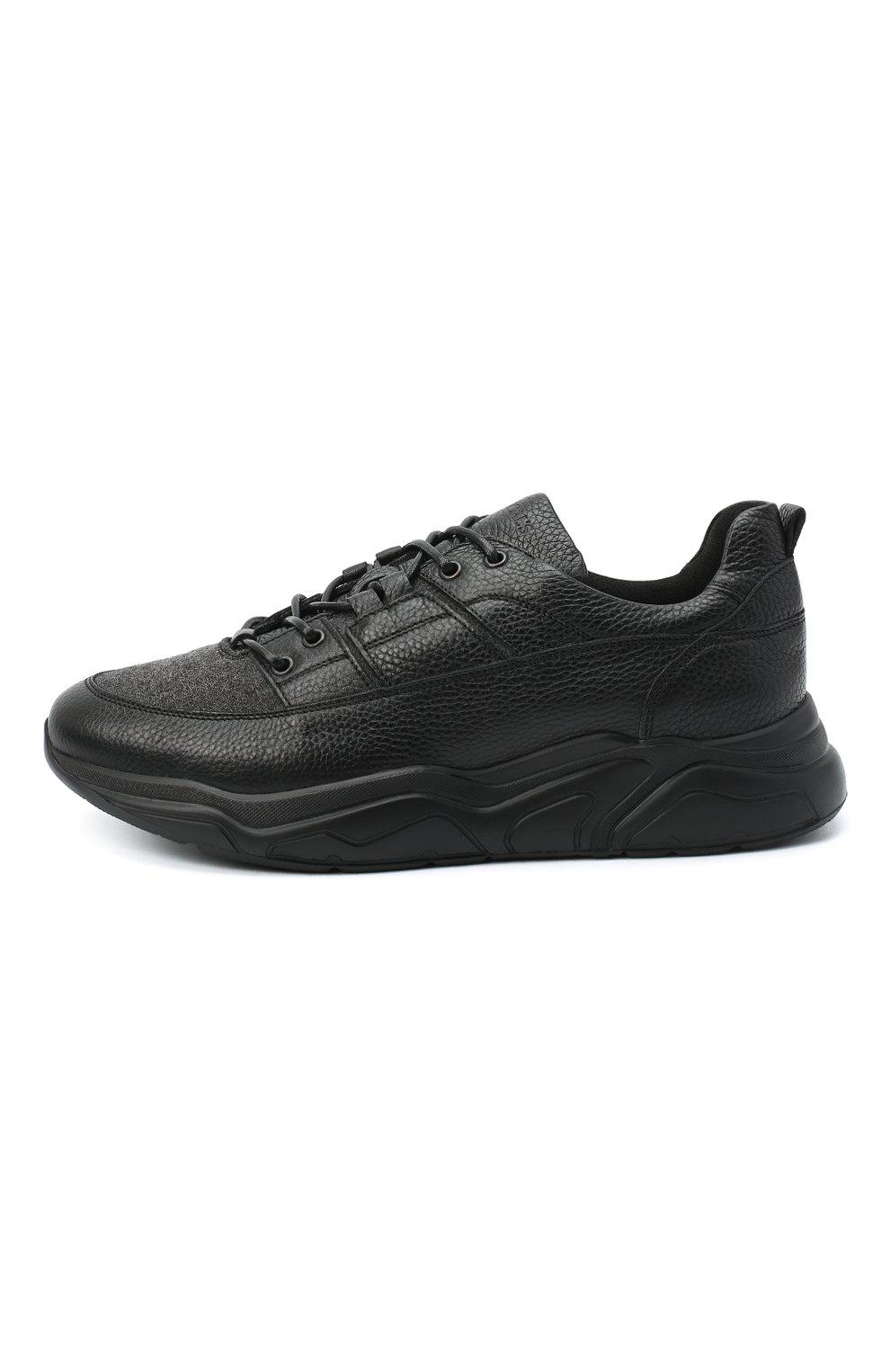 Мужские кожаные кроссовки DOUCAL'S черного цвета, арт. DU2710JUSTPX208NN00 | Фото 3