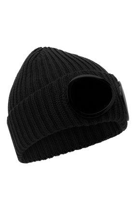 Мужская шерстяная шапка C.P. COMPANY черного цвета, арт. 09CMAC239A-005509A | Фото 1