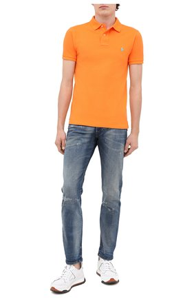 Мужское хлопковое поло POLO RALPH LAUREN оранжевого цвета, арт. 710536856 | Фото 2