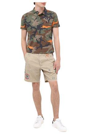 Мужское хлопковое поло POLO RALPH LAUREN хаки цвета, арт. 710746576   Фото 2