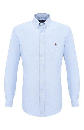 Мужская хлопковая рубашка POLO RALPH LAUREN голубого цвета, арт. 710792041 | Фото 1