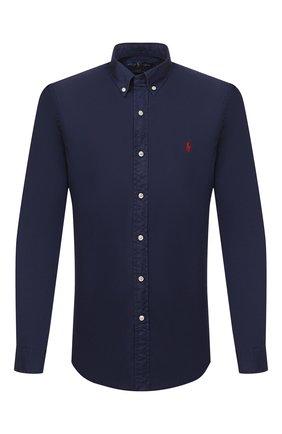 Мужская хлопковая рубашка POLO RALPH LAUREN темно-синего цвета, арт. 710794604   Фото 1