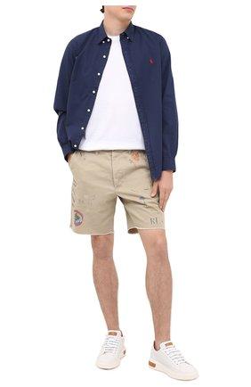 Мужская хлопковая рубашка POLO RALPH LAUREN темно-синего цвета, арт. 710794604   Фото 2