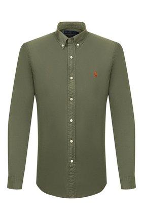 Мужская хлопковая рубашка POLO RALPH LAUREN зеленого цвета, арт. 710794604 | Фото 1