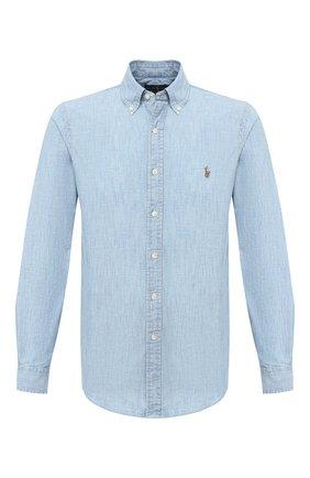 Мужская хлопковая рубашка POLO RALPH LAUREN голубого цвета, арт. 710795458 | Фото 1