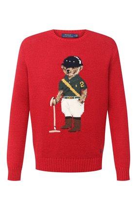 Мужской свитер из хлопка и льна POLO RALPH LAUREN красного цвета, арт. 710798335 | Фото 1