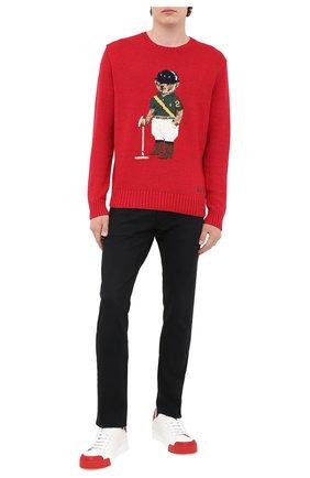 Мужской свитер из хлопка и льна POLO RALPH LAUREN красного цвета, арт. 710798335 | Фото 2