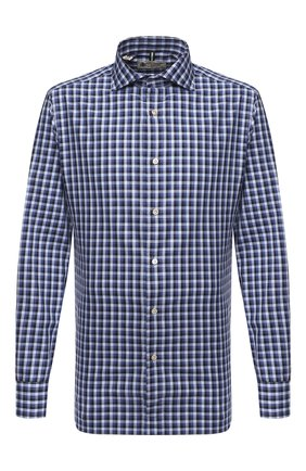 Мужская хлопковая рубашка LUIGI BORRELLI синего цвета, арт. EV08/NAND0/TS30132 | Фото 1