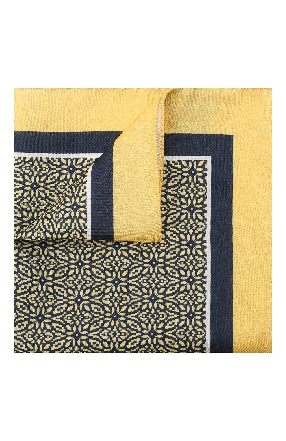 Мужской платок из хлопка и шелка ERMENEGILDO ZEGNA желтого цвета, арт. Z8J16/38B   Фото 1