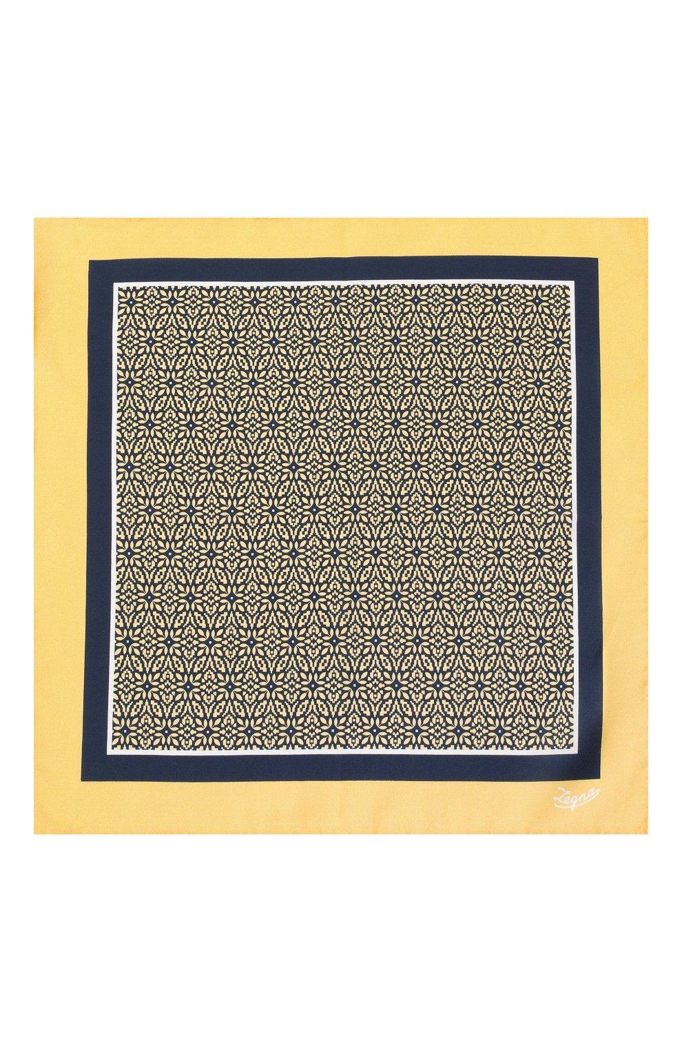 Мужской платок из хлопка и шелка ERMENEGILDO ZEGNA желтого цвета, арт. Z8J16/38B   Фото 3