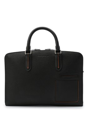 Мужская кожаная сумка для ноутбука ERMENEGILDO ZEGNA черного цвета, арт. C1576W-LHDAI | Фото 1
