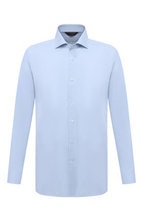 Мужская хлопковая сорочка ZEGNA COUTURE голубого цвета, арт. E02301/9NS0LB | Фото 1