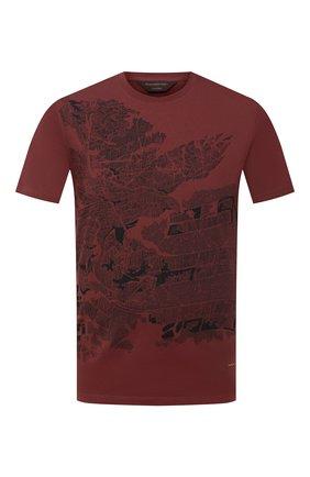 Мужская хлопковая футболка ZEGNA COUTURE бордового цвета, арт. CVCJ12/8VJ10 | Фото 1