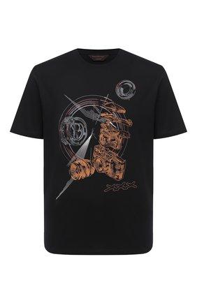 Мужская хлопковая футболка ZEGNA COUTURE черного цвета, арт. CVCJ11/8VJ09 | Фото 1